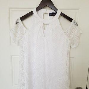 NWOT Francesca Wht cold shoulder lace dress xs